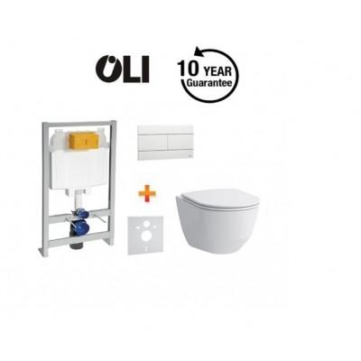 Komplektas: OLI rėmas su klozetu Laufen Pro rimless ir lėtaeigiu dangčiu